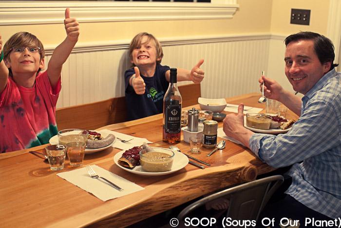 Every thumb up!  Ärtsoppa  + Pannkakor med Sylt Lingon + Värmlandskorv (pork/potato sausage)